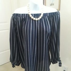 Blue and white striped off the shoulder blouse